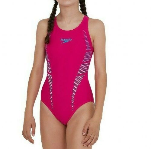 SPEEDO GIRLS SWIMSUIT.PLASTISOL PLACEMENT MUSCLEBACK PINK SWIMMING COSTUME S20 9